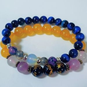 2 Tigers Eye/ Citrine/ crystal Feng shui bracelets